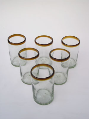 MEXICAN GLASSWARE / 'Amber Rim' drinking glasses