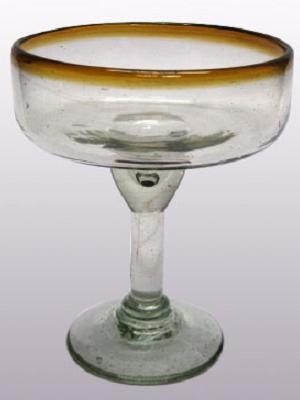 Wholesale Mexican Margarita Glasses / 'Amber Rim' large margarita glasses  / For the margarita lover, these enjoyable large sized margarita glasses feature a cheerful amber color rim.
