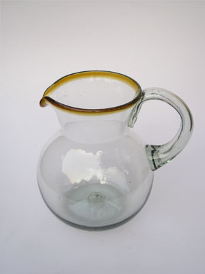 Wholesale Amber Rim Glassware / 'Amber Rim' blown glass pitcher / This classic pitcher is perfect for pouring out all kinds of refreshing drinks.