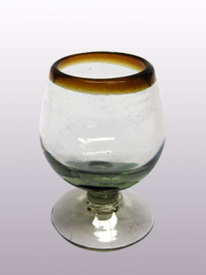 Wholesale Amber Rim Glassware / 'Amber Rim' small cognac glasses  / This classy set of cognac glasses will compliment your blown glass collection and help you enjoy your favourite liquor.