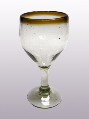 Wholesale Amber Rim Glassware / 'Amber Rim' small wine glasses  / Capture the bouquet of fine red wine with these wine glasses bordered with a bright, amber color rim.