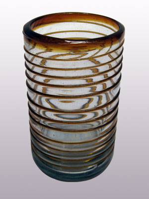 MEXICAN GLASSWARE / 'Amber Spiral' drinking glasses