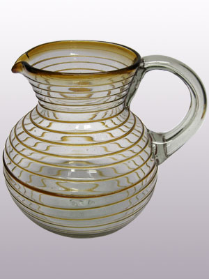 MEXICAN GLASSWARE / 'Amber Spiral' blown glass pitcher