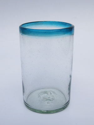 Wholesale MEXICAN GLASSWARE / 'Aqua Blue Rim' drinking glasses  / These glasses are sure to embelish any table setting, with their aqua blue decor.