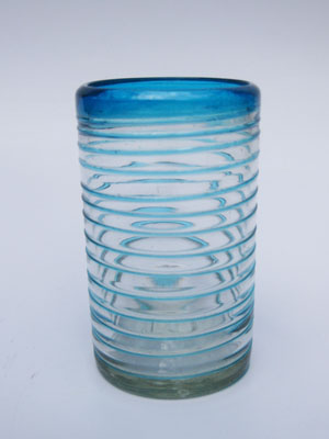 MEXICAN GLASSWARE / 'Aqua Blue Spiral' drinking glasses