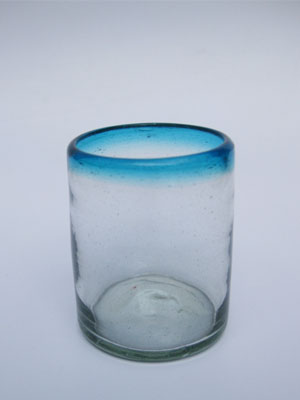 Wholesale MEXICAN GLASSWARE / 'Aqua Blue Rim' tumblers  / These tumblers are a great complement for your pitcher and drinking glasses set.