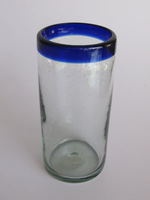 MEXICAN GLASSWARE / 'Cobalt Blue Rim' highball glasses