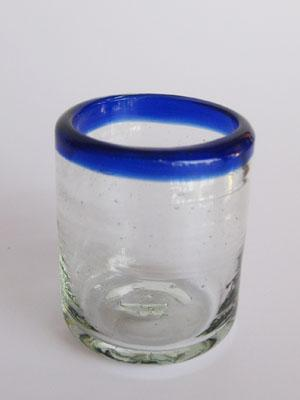 MEXICAN GLASSWARE / 'Cobalt Blue Rim' small sipping glasses