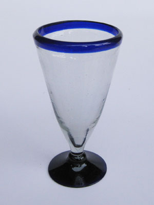 Wholesale Cobalt Blue Rim Glassware / 'Cobalt Blue Rim' Pilsner beer glasses  / Tall, tapered hand blown Pilsner glasses with a blue rim. Reveal the colour and carbonation of your favorite beer with this gorgeous set of glasses.