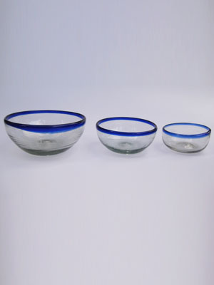 Wholesale MEXICAN GLASSWARE / 'Cobalt Blue Rim' snack bowl set (3 pieces) / Large, medium & small cobalt blue rim snack bowls. Great for serving peanuts, chips or pretzels in stylish fashion.