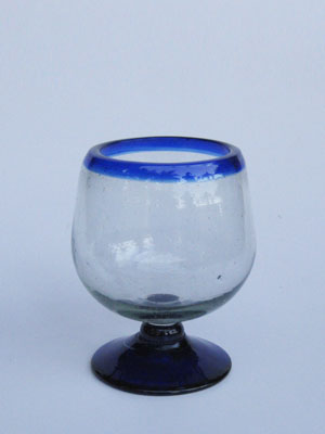 Wholesale MEXICAN GLASSWARE / 'Cobalt Blue Rim' cognac glasses  / Enjoy cognac or any other liquor straight with these stemless balloon glasses. They come adorned with a classy cobalt blue rim.