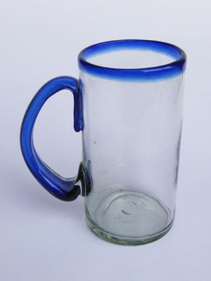 Wholesale Cobalt Blue Rim Glassware / 'Cobalt Blue Rim' large beer mugs  / What better way to enjoy freezing cold beer than with these large blue rim mugs? Thick blown glass helps keep low temperature and full flavor, just the way you like it!