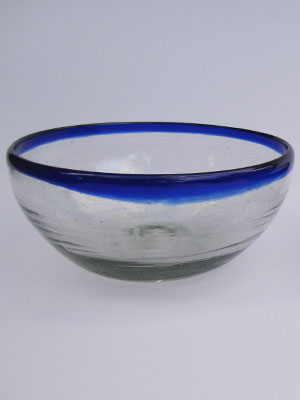Wholesale MEXICAN GLASSWARE / 'Cobalt Blue Rim' large snack bowl set (3 pieces) / Large cobalt blue rim snack bowls. Great for serving peanuts, chips or pretzels in stylish fashion.