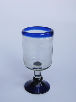 Wholesale MEXICAN GLASSWARE / 'Cobalt Blue Rim' small wine goblets  / Wine tasting has never been this colorful. Small wine goblets for the enjoyment of red or white wines, each comes adorned with a cobalt blue rim.