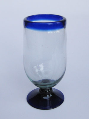 Wholesale MEXICAN GLASSWARE / 'Cobalt Blue Rim' tall water goblets  / These tall water goblets will embellish your table setting and give it a festive feel. Made from authentic hand blown recycled glass.