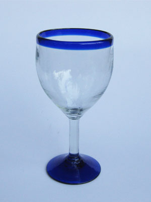 Wholesale MEXICAN GLASSWARE / 'Cobalt Blue Rim' wine glasses  / Capture the bouquet of fine red wine with these wine glasses bordered with a bright, cobalt blue rim.