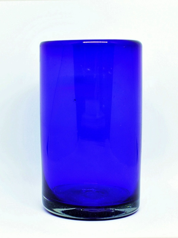 MEXICAN GLASSWARE / Solid Cobalt Blue drinking glasses