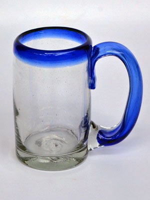 Wholesale Cobalt Blue Rim Glassware / 'Cobalt Blue Rim' beer mugs  / Imagine drinking a cold beer in one of these mugs right out of the freezer, the cobalt blue handle and rim makes them a standout in any home bar.