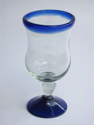 Wholesale Cobalt Blue Rim Glassware / 'Cobalt Blue Rim' curvy water goblets  / The curved wall of these goblets makes them classic and beautiful at the same time. Ideal to complete your table setting.