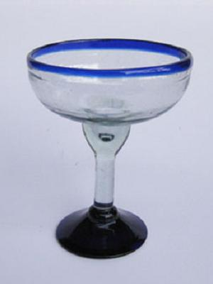 Wholesale MEXICAN GLASSWARE / 'Cobalt Blue Rim' margarita glasses  / An essential set for any margarita lover, the hand-blown glasses feature a cheerful cobalt blue rim.