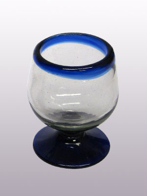 Wholesale Cobalt Blue Rim Glassware / 'Cobalt Blue Rim' small cognac glasses  / This classy set of small cognac glasses will compliment your blown glass collection and help you enjoy your favourite liquor.