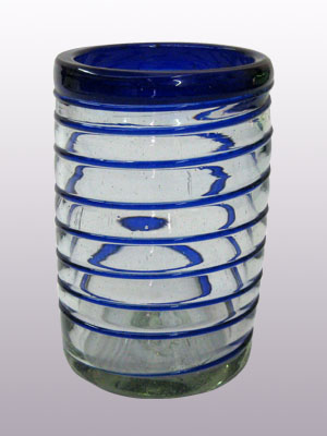MEXICAN GLASSWARE / 'Cobalt Blue Spiral' drinking glasses