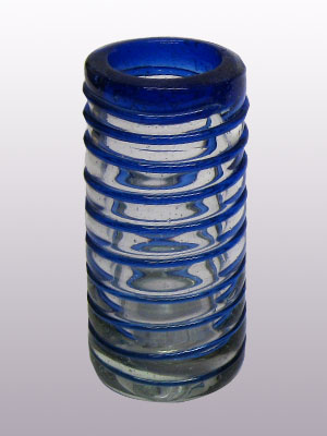 Wholesale Tequila Shot Glasses / 'Cobalt Blue Spiral' Tequila shot glasses  / Cobalt blue threads spinned to embrace these gorgeous shot glasses, perfect for parties or enjoying your favorite liquor.