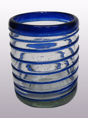 Wholesale Mexican Glasses / 'Cobalt Blue Spiral' tumblers  / This festive set of tumblers is great for a glass of milk with cookies or a lemonade on a hot summer day.