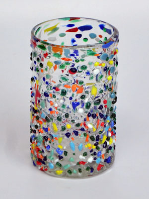 MEXICAN GLASSWARE / 'Confetti rocks' drinking glasses
