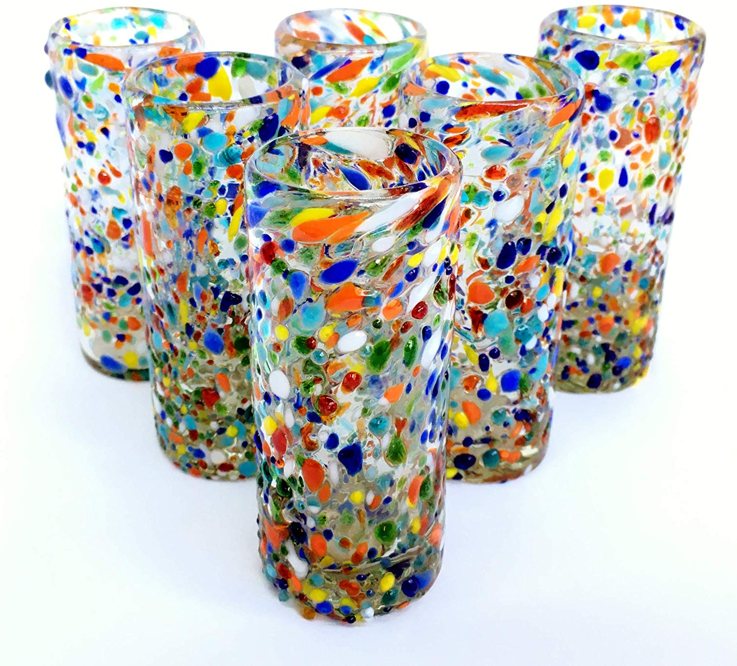 MEXICAN GLASSWARE / 'Confetti Rocks' Tequila shot glasses