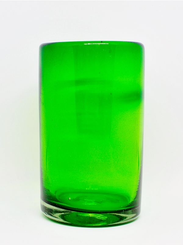 MEXICAN GLASSWARE / Solid Emerald green drinking glasses