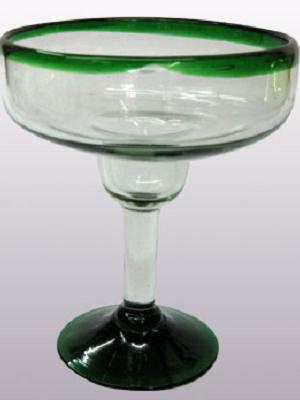 Wholesale Mexican Margarita Glasses / 'Emerald Green Rim' large margarita glasses  / For the margarita lover, these enjoyable large sized margarita glasses feature a cheerful emerald green rim.