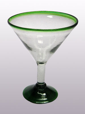 MEXICAN GLASSWARE / 'Emerald Green Rim' martini glasses