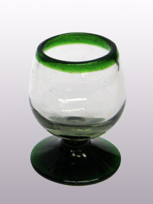 MEXICAN GLASSWARE / Emerald Green Rim small cognac glasses