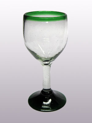 MEXICAN GLASSWARE / 'Emerald Green Rim' small wine glasses