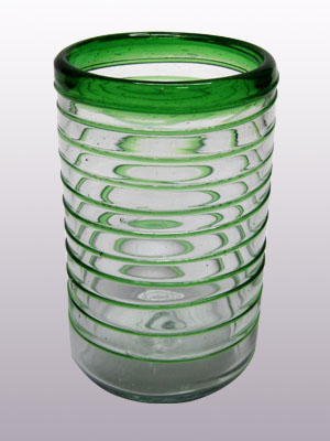 MEXICAN GLASSWARE / 'Emerald Green Spiral' drinking glasses