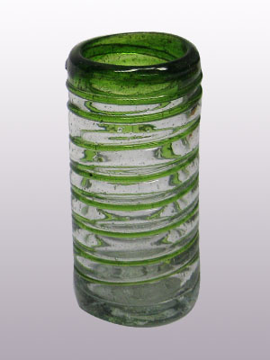 MEXICAN GLASSWARE / 'Emerald Green Spiral' Tequila shot glasses