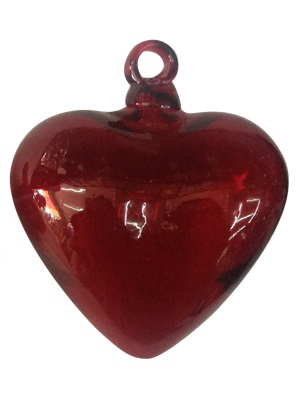 / Red Blown Glass Hanging Hearts Jumbo size (set of 3)