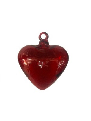 MEXICAN GLASSWARE / Red Blown Glass Hanging Hearts Large