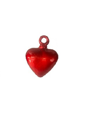 MEXICAN GLASSWARE / Red Blown Glass Hanging Hearts Medium