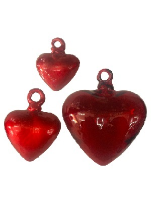 MEXICAN GLASSWARE / Red Blown Glass Hanging Hearts 2 Lge 2 Med and 2 Small