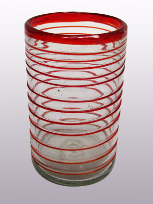 MEXICAN GLASSWARE / 'Ruby Red Spiral' drinking glasses