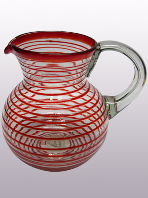 / 'Ruby Red Spiral' blown glass pitcher