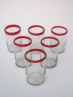 MEXICAN GLASSWARE / 'Ruby Red Rim' drinking glasses
