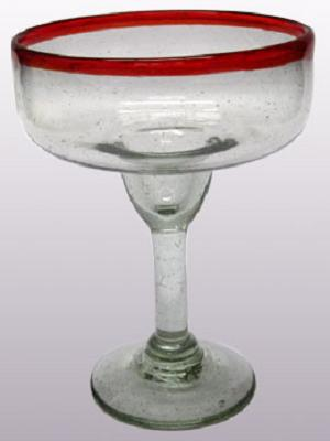 Wholesale Mexican Margarita Glasses / 'Ruby Red Rim' large margarita glasses  / For the margarita lover, these enjoyable large sized margarita glasses feature a cheerful ruby red rim.