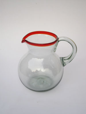 / 'Ruby Red Rim' blown glass pitcher